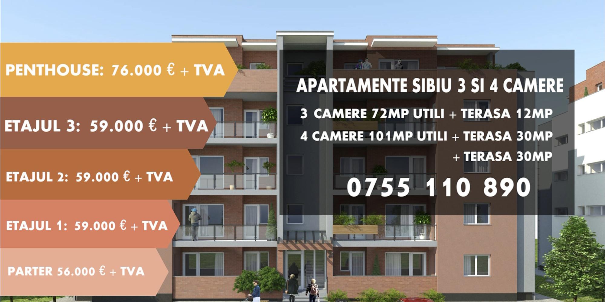 Apartamente 3 si 4 camere Sibiu